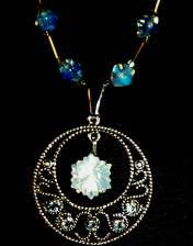 necklace, handmade, custom jewelry, bracelet, earrings, pendant, blue moon quartz, sterling silver, Swarovski Crystals, crypto-crystalline, gem, Kadenski Collection, round, snowflake cut, Brazil