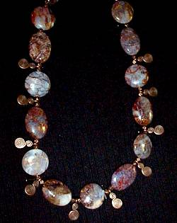 necklace, handmade, custom jewelry, bracelet, earrings, metal beads, coppertone, oval, flat, peitersite, round, toggle closure